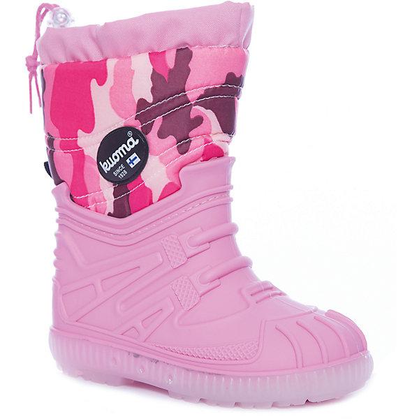 Сноубутсы  Vihuri KUOMA для девочкиСноубутсы<br>Характеристики товара:<br><br>• цвет: розовый;<br>• внешний материал: текстиль;<br>• внутренний материал: до 26 размера - натуральный мех, с 27 - искусственный;<br>• стелька: до 26 размера - натуральный мех, с 27 - искусственный;<br>• подошва: SEBS;<br>• сезон: демисезон, зима;<br>• температурный режим: от -10 до +5;<br>• застежка: липучка;<br>• анатомические ;<br>• подошва не скользит;<br>• защита мыса;<br>• страна бренда: Финляндия;<br>• страна изготовитель: Финляндия.<br><br>Утепленные детские сноубутсы имеют толстую устойчивую подошву с амортизатором. Сапоги для мальчика Kuoma разработаны специально для детей, поэтому подошва способствует поглощению ударов при ходьбе и равномерному распределению веса ребенка на стопу. Отличная теплоизоляция поможет ногам не мерзнуть в таких сноубутсах для детей.<br><br>Сапоги Vihuri Kuoma (Куома) для мальчика можно купить в нашем интернет-магазине.<br>Ширина мм: 257; Глубина мм: 180; Высота мм: 130; Вес г: 420; Цвет: розовый; Возраст от месяцев: 15; Возраст до месяцев: 18; Пол: Женский; Возраст: Детский; Размер: 22,35,34,33,32,31,30,29,28,27,26,25,24,23; SKU: 7558786;