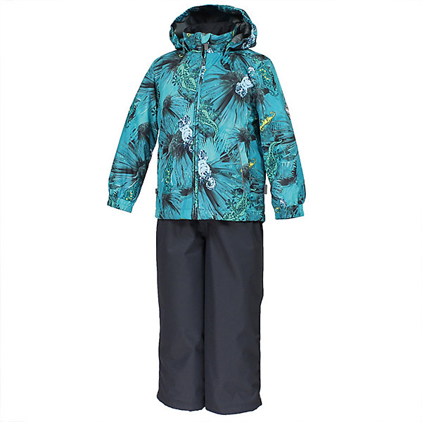 Комплект YOKO HuppaВерхняя одежда<br>Характеристики товара:<br><br>• цвет: тёмно-зелёный принт/тёмно-серый; <br>• модель: Yoko;<br>• состав: 100% полиэстер;<br>• подкладка: 100% полиэстер, тафта;<br>• утеплитель: 100% полиэстер, куртка - 100 гр., полукомбинезон – 40 гр.;<br>• сезон: демисезон;<br>• температурный режим: от -5 до +10С;<br>• водонепроницаемость: куртка 5000, брюки 10000 мм ;<br>• воздухопроницаемость: куртка 5000, брюки 10000 г/м2/24ч;<br>• ветронепродуваемый;<br>• застежка: молния с защитой подбородка, полукомбинезон на молнии;<br>• сидельный шов проклеен;<br>• съёмный капюшон на кнопках;<br>• эластичная резинка по кромке капюшона;<br>• манжеты рукавов на мягкой эластичной резинке;<br>• регулируемый низ брючин;<br>• шнурок-утяжка со стопером по низу брючин;<br>• без внутренних швов;<br>• два прорезных кармана у куртки;<br>• полукомбинезон на мягких эластичных подтяжках;<br>• подтяжки не отстёгиваются;<br>• светоотражающие элементы;<br>• страна бренда: Эстония;<br>• страна изготовитель: Эстония.<br><br>Утепленный комплект сделан из материала, отталкивающего воду, дополнен подкладкой из тафты и утеплителем, поэтому изделие идеально подходит для межсезонья. Материал изделия - с мембранной технологией: защищает от влаги и ветра, ветронепродуваемый. Демисезонный комплект застёгивается на молнию, манжеты рукавов на мягкой эластичной резинке. Полукомбинезон с подтяжками и регулируемым низом штанин с утяжкой-стопером.<br><br>Комплект YOKO от бренда Huppa (Хуппа) можно купить в нашем интернет-магазине.<br>Ширина мм: 356; Глубина мм: 10; Высота мм: 245; Вес г: 519; Цвет: бирюзовый; Возраст от месяцев: 18; Возраст до месяцев: 24; Пол: Унисекс; Возраст: Детский; Размер: 92,122,116,110,104,98; SKU: 7571316;