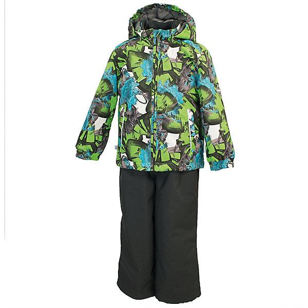 Комплект YOKO HuppaВерхняя одежда<br>Характеристики товара:<br><br>• цвет: зелёный принт/тёмно-серый; <br>• модель: Yoko;<br>• состав: 100% полиэстер;<br>• подкладка: 100% полиэстер, тафта;<br>• утеплитель: 100% полиэстер, куртка - 100 гр., полукомбинезон – 40 гр.;<br>• сезон: демисезон;<br>• температурный режим: от -5 до +10С;<br>• водонепроницаемость: куртка 5000, брюки 10000 мм ;<br>• воздухопроницаемость: куртка 5000, брюки 10000 г/м2/24ч;<br>• ветронепродуваемый;<br>• застежка: молния с защитой подбородка, полукомбинезон на молнии;<br>• сидельный шов проклеен;<br>• съёмный капюшон на кнопках;<br>• эластичная резинка по кромке капюшона;<br>• манжеты рукавов на мягкой эластичной резинке;<br>• регулируемый низ брючин;<br>• шнурок-утяжка со стопером по низу брючин;<br>• без внутренних швов;<br>• два прорезных кармана у куртки;<br>• полукомбинезон на мягких эластичных подтяжках;<br>• подтяжки не отстёгиваются;<br>• светоотражающие элементы;<br>• страна бренда: Эстония;<br>• страна изготовитель: Эстония.<br><br>Утепленный комплект сделан из материала, отталкивающего воду, дополнен подкладкой из тафты и утеплителем, поэтому изделие идеально подходит для межсезонья. Материал изделия - с мембранной технологией: защищает от влаги и ветра, ветронепродуваемый. Демисезонный комплект застёгивается на молнию, манжеты рукавов на мягкой эластичной резинке. Полукомбинезон с подтяжками и регулируемым низом штанин с утяжкой-стопером.<br><br>Комплект YOKO от бренда Huppa (Хуппа) можно купить в нашем интернет-магазине.<br>Ширина мм: 356; Глубина мм: 10; Высота мм: 245; Вес г: 519; Цвет: зеленый; Возраст от месяцев: 18; Возраст до месяцев: 24; Пол: Унисекс; Возраст: Детский; Размер: 92,122,116,110,104,98; SKU: 7571330;