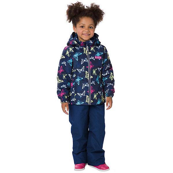 Комплект: куртка и брюки Premont для девочкиВерхняя одежда<br>Характеристики товара:<br><br>• цвет: темно-синий;<br>• состав ткани: мембрана, Pongee;<br>• подкладка: taffeta (рукава и тело куртки, брючины), трикотаж с ворсом (капюшон, внутренняя часть воротника, карманы, отделка внутренней планки);<br>• утеплитель: Tech-Polyfill 100 г/м? (куртка),80 г/м? (п/комбинезон, брюки);<br>• сезон: демисезон;<br>• температурный режим: от -5 до +10;<br>• водонепроницаемость: 3000 мм ;<br>• паропроницаемость: 3000 г/м2/24ч;<br>• застежка: молния YKK;<br>• съёмный капюшон на молнии;<br>• защита подбородка;<br>• внутренняя ветрозащитная планка;<br>• утяжка капюшона;<br>• эластичные манжеты на рукавах с доп. регулировкой (липучка);<br>• два кармана;<br>• внутренняя этикетка с местом для имени;<br>• светоотражающие элементы (шнур, нашивки);<br>• светоотражающие пуллеры с логотипом;<br>• эластичная резинка по талии;<br>• внутренний нагрудный карман на липучке;<br>• два кармана на липучках на полукомбинезоне/брюках;<br>• внутреняя защитная эластичная гетра на полукомбинезоне/брюках;<br>• регулировка длины брючин;<br>• эластичные лямки с регулировкой длины;<br>• п/комбинезон с высокой грудкой с 2 до 6, брюки со съемными лямками с 7 до 14;<br>• внутренняя этикетка с местом для имени (дополнительно и на полукомбенизоне/брюках);<br>• эластичная резинка на талии полукомбенизона/брюк; <br>• съемные силиконовые штрипки;<br>• светоотражающие элементы (вшивная деталь, принт).<br>• страна бренда: Канада;<br>• страна изготовитель: Китай<br><br>Демисезонный комплект из куртки и полукомбинезона/брюк для девочки «Мерцающие Данаиды» - универсальный вариант и для прохладной осени, и для первых заморозков. Эта модель - модная и удобная одновременно! Куртка отличается стильным ярким дизайном с изображением разноцветных бабочек. Комплект хорошо сидит по фигуре, отлично сочетается с различной обувью. <br><br>Одежда от канадского бренда Premont создается из качественных и безопасных для детей материалы. 