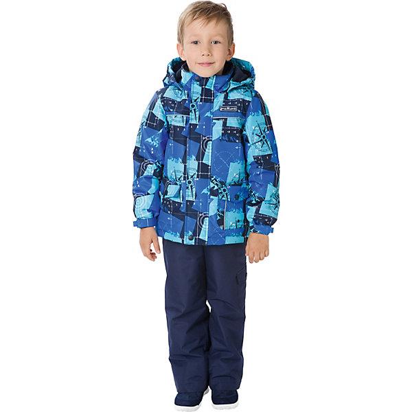 Комплект: куртка и брюки Premont для мальчикаВерхняя одежда<br>Характеристики товара:<br><br>• цвет: темно-синий/бирюзовый;<br>• состав ткани: мембрана, Pongee;<br>• подкладка: taffeta (рукава и тело куртки, брючины), трикотаж с ворсом (капюшон, внутренняя часть воротника, карманы, отделка внутренней планки);<br>• утеплитель: Tech-Polyfill 100 г/м? (куртка),80 г/м? (п/комбинезон, брюки);<br>• сезон: демисезон;<br>• температурный режим: от -5 до +10;<br>• водонепроницаемость: 3000 мм ;<br>• паропроницаемость: 3000 г/м2/24ч;<br>• застежка: молния YKK;<br>• съёмный капюшон на молнии;<br>• защита подбородка;<br>• внутренняя ветрозащитная планка;<br>• утяжка капюшона;<br>• эластичные манжеты на рукавах с доп. регулировкой (липучка);<br>• два кармана;<br>• внутренняя этикетка с местом для имени;<br>• светоотражающие элементы (шнур, нашивки);<br>• светоотражающие пуллеры с логотипом;<br>• эластичная резинка по талии;<br>• внутренний нагрудный карман на липучке;<br>• два кармана на липучках на полукомбинезоне/брюках;<br>• внутреняя защитная эластичная гетра на полукомбинезоне/брюках;<br>• регулировка длины брючин;<br>• эластичные лямки с регулировкой длины;<br>• п/комбинезон с высокой грудкой с 2 до 6, брюки со съемными лямками с 7 до 14;<br>• внутренняя этикетка с местом для имени;<br>• эластичная резинка на талии; <br>• съемные силиконовые штрипки;<br>• светоотражающие элементы (вшивная деталь, принт).<br>• страна бренда: Канада;<br>• страна изготовитель: Китай<br><br>Демисезонный комплект из куртки и полукомбинезона/брюк для мальчика «Закадка моря Бофорта» - универсальный вариант и для прохладной осени, и для первых заморозков. Эта модель - модная и удобная одновременно! Куртка отличается стильным ярким дизайном, с принтом в морской тематике. Комплект хорошо сидит по фигуре, отлично сочетается с различной обувью. <br><br>Одежда от канадского бренда Premont создается из качественных и безопасных для детей материалы. Миссия компании - изменить к лучшему повседневную жизнь 