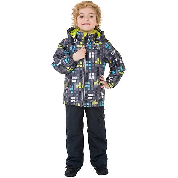Комплект: куртка и брюки Premont для мальчикаВерхняя одежда<br>Характеристики товара:<br><br>• цвет: серый/мульколор;<br>• состав ткани: мембрана, Pongee;<br>• подкладка: taffeta (рукава и тело куртки, брючины), трикотаж с ворсом (капюшон, внутренняя часть воротника, карманы, отделка внутренней планки);<br>• утеплитель: Tech-Polyfill 100 г/м? (куртка),80 г/м? (п/комбинезон, брюки);<br>• сезон: демисезон;<br>• температурный режим: от -5 до +10;<br>• водонепроницаемость: 3000 мм ;<br>• паропроницаемость: 3000 г/м2/24ч;<br>• застежка: молния YKK;<br>• съёмный капюшон на молнии;<br>• защита подбородка;<br>• внутренняя ветрозащитная планка;<br>• утяжка капюшона;<br>• эластичные манжеты на рукавах с доп. регулировкой (липучка);<br>• два кармана;<br>• внутренняя этикетка с местом для имени;<br>• светоотражающие элементы (шнур, нашивки);<br>• светоотражающие пуллеры с логотипом;<br>• эластичная резинка по талии;<br>• внутренний нагрудный карман на липучке;<br>• два кармана на липучках на полукомбинезоне/брюках;<br>• внутреняя защитная эластичная гетра на полукомбинезоне/брюках;<br>• регулировка длины брючин;<br>• эластичные лямки с регулировкой длины;<br>• п/комбинезон с высокой грудкой с 2 до 6, брюки со съемными лямками с 7 до 14;<br>• внутренняя этикетка с местом для имени;<br>• эластичная резинка на талии; <br>• съемные силиконовые штрипки;<br>• светоотражающие элементы (вшивная деталь, принт).<br>• страна бренда: Канада;<br>• страна изготовитель: Китай<br><br>Демисезонный комплект из куртки и полукомбинезона/брюк для мальчика «Лонг Дарк» - универсальный вариант и для прохладной осени, и для первых заморозков. Эта модель - модная и удобная одновременно! Куртка отличается стильным ярким дизайном. Комплект хорошо сидит по фигуре, отлично сочетается с различной обувью. <br><br>Одежда от канадского бренда Premont создается из качественных и безопасных для детей материалы. Миссия компании - изменить к лучшему повседневную жизнь родителей и детей, предлагая самую комфортную, 
