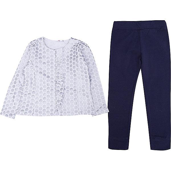 Комплект: футболка с длинным рукавом, леггинсы iDO для девочкиКомплекты<br>Характеристики товара:<br><br>• цвет: голубой<br>• комплектация: лонгслив, леггинсы<br>• состав ткани: 100% хлопок<br>• сезон: демисезон<br>• пояс: резинка<br>• длинные рукава<br>• страна бренда: Италия<br><br>Эффектный комплект для девочки сшит из мягкого натурального хлопкового материала, который отлично подходит детям. Такой детский комплект от известного бренда iDO из Италии обеспечит ребенку комфорт. Такой стильный комплект для ребенка - это лонгслив и леггинсы. <br><br>Комплект: лонгслив, леггинсы iDO (АйДу) для девочки можно купить в нашем интернет-магазине.<br>Ширина мм: 230; Глубина мм: 40; Высота мм: 220; Вес г: 250; Цвет: голубой; Возраст от месяцев: 48; Возраст до месяцев: 60; Пол: Женский; Возраст: Детский; Размер: 110; SKU: 7588389;