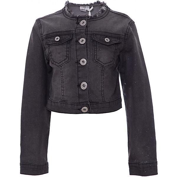 Куртка iDO для девочкиВерхняя одежда<br>Куртка iDO для девочки<br>Укороченная джинсовая куртка с блестками. <br><br>Состав: <br>97% хлопок 3% др.вол.<br>Ширина мм: 356; Глубина мм: 10; Высота мм: 245; Вес г: 519; Цвет: черный; Возраст от месяцев: 48; Возраст до месяцев: 60; Пол: Женский; Возраст: Детский; Размер: 110,104,98,122,116; SKU: 7588626;