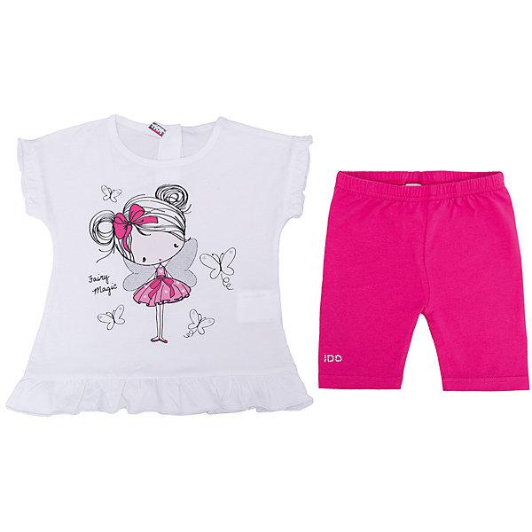 Комплект: футболка, шорты iDO для девочкиКомплекты<br>Характеристики товара:<br><br>• цвет: белый<br>• комплектация: футболка, шорты<br>• состав ткани: 95% хлопок, 5% синтетическое волокно<br>• сезон: лето<br>• застежка: кнопки<br>• короткие рукава<br>• пояс: резинка<br>• страна бренда: Италия<br><br>Симпатичный комплект для девочки сшит из мягкого натурального хлопкового материала, который отлично подходит детям. Такой детский комплект от известного бренда iDO из Италии обеспечит ребенку комфорт. Такой стильный комплект для ребенка - это футболка и шорты. <br><br>Комплект: футболка, шорты iDO (АйДу) для девочки можно купить в нашем интернет-магазине.<br>Ширина мм: 199; Глубина мм: 10; Высота мм: 161; Вес г: 151; Цвет: белый; Возраст от месяцев: 18; Возраст до месяцев: 24; Пол: Женский; Возраст: Детский; Размер: 92,122,116,110,104,98; SKU: 7588922;