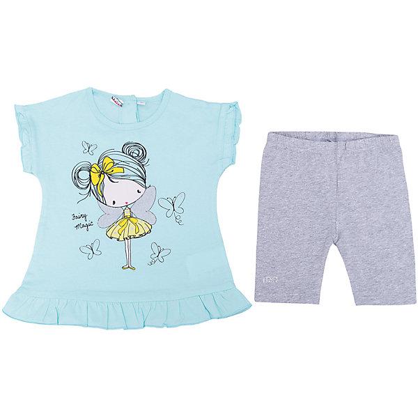 Купить Комплект: футболка, шорты iDO для девочки, Китай, голубой, 92, 122, 116, 110, 104, 98, Женский