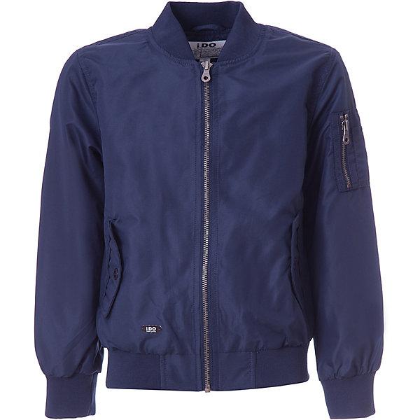 Куртка iDO для мальчикаВерхняя одежда<br>Характеристики товара:<br><br>• цвет: синий<br>• состав ткани: 100% полиэстер<br>• подкладка: 100% полиэстер<br>• утеплитель: нет<br>• сезон: демисезон<br>• особенности модели: без капюшона<br>• застежка: молния<br>• страна бренда: Италия<br><br>Эта детская куртка-бомбер сделана из качественного материала. Модная куртка для ребенка - от известного итальянского бренда iDO, который известен высоким качеством и европейским стилем выпускаемой одежды для детей. Куртка для мальчика поможет создать удобный и модный наряд в прохладную погоду.<br><br>Куртку iDO (АйДу) для мальчика можно купить в нашем интернет-магазине.<br>Ширина мм: 356; Глубина мм: 10; Высота мм: 245; Вес г: 519; Цвет: темно-синий; Возраст от месяцев: 84; Возраст до месяцев: 96; Пол: Мужской; Возраст: Детский; Размер: 128,170,164,152,140; SKU: 7589034;