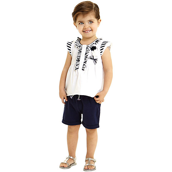 Купить Комплект: футболка, шорты iDO для девочки, Китай, голубой, 92, 98, 122, 116, 110, 104, Женский