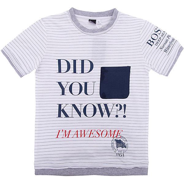 Футболка iDO для мальчикаФутболки, поло и топы<br>Характеристики товара:<br><br>• цвет: белый<br>• состав ткани: 95% хлопок, 5% синтетическое волокно<br>• сезон: лето<br>• короткие рукава<br>• страна бренда: Италия<br><br>Хлопковая футболка для ребенка от популярного бренда iDO отличается высоким качеством материала и обработки швов. Эта футболка для мальчика сделана из дышащего гипоаллергенного хлопка. Такая детская футболка отличается стильным дизайном.<br><br>Футболку iDO (АйДу) для мальчика можно купить в нашем интернет-магазине.<br>Ширина мм: 199; Глубина мм: 10; Высота мм: 161; Вес г: 151; Цвет: белый; Возраст от месяцев: 84; Возраст до месяцев: 96; Пол: Мужской; Возраст: Детский; Размер: 128,170,164,152,140; SKU: 7590340;