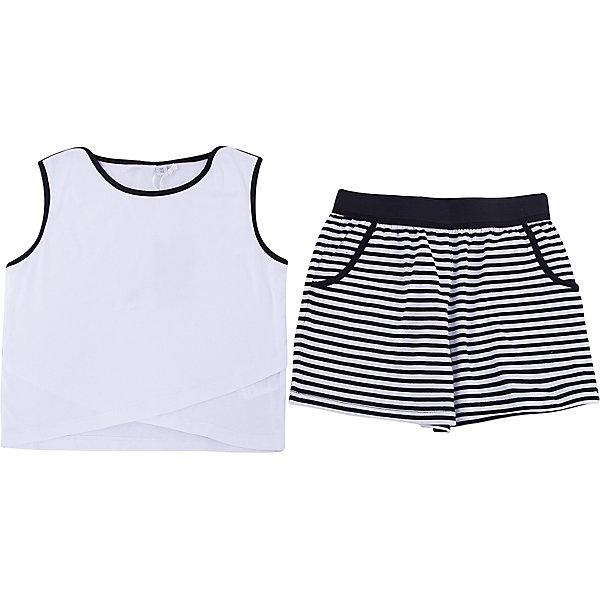 Комплект: футболка, шорты iDO для девочкиКомплекты<br>Характеристики товара:<br><br>• цвет: белый<br>• комплектация: футболка, шорты<br>• состав ткани: 95% хлопок, 5% синтетическое волокно<br>• сезон: лето<br>• пояс: резинка<br>• без рукавов<br>• страна бренда: Италия<br>• стиль и качество iDO<br><br>Легкий комплект для девочки сшит из мягкого натурального хлопкового материала, который отлично подходит малышам. Такой детский комплект от известного бренда iDO из Италии обеспечит ребенку комфорт. Такой стильный комплект для ребенка - это футболка и шорты. <br><br>Комплект: футболка, шорты iDO (АйДу) для девочки можно купить в нашем интернет-магазине.<br>Ширина мм: 199; Глубина мм: 10; Высота мм: 161; Вес г: 151; Цвет: белый; Возраст от месяцев: 84; Возраст до месяцев: 96; Пол: Женский; Возраст: Детский; Размер: 128,170,164,152,140; SKU: 7590648;
