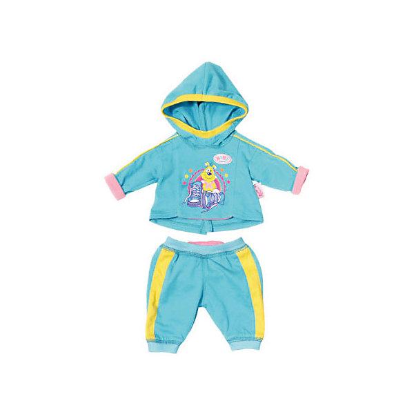 Одежда для куклы Zapf Creation Baby Born Спортивный костюм, голубойОдежда для кукол<br>Характеристики:<br><br>• одежда для кукол;<br>• подходит для кукол высотой 43 см;<br>• спортивный костюмчик состоит из 2-х предметов: штанишки и кофточка;<br>• штаны на резинке;<br>• кофточка с капюшоном;<br>• материал: текстиль;<br>• размер упаковки: 33х37 см.<br><br>Куколка Беби Борн всерьез занимается спортом. Спортивный костюмчик отлично сидит, а куколка в костюме выглядит превосходно. Можно накинуть даже капюшончик: тогда куколка точно не замерзнет. <br> <br>BABY born Спортивный костюмчик, голубой можно купить в нашем интернет-магазине.<br>Ширина мм: 190; Глубина мм: 10; Высота мм: 210; Вес г: 128; Возраст от месяцев: 36; Возраст до месяцев: 2147483647; Пол: Женский; Возраст: Детский; SKU: 7590893;
