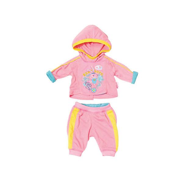 Одежда для куклы Zapf Creation Baby Born Спортивный костюм, розовыйОдежда для кукол<br>Характеристики:<br><br>• одежда для кукол;<br>• подходит для кукол высотой 43 см;<br>• спортивный костюмчик состоит из 2-х предметов: штанишки и кофточка;<br>• штаны на резинке;<br>• кофточка с капюшоном;<br>• материал: текстиль;<br>• размер упаковки: 33х37 см.<br><br>Куколка Беби Борн всерьез занимается спортом. Спортивный костюмчик отлично сидит, а куколка в костюме выглядит превосходно. Можно накинуть даже капюшончик: тогда куколка точно не замерзнет. <br> <br>BABY born Спортивный костюмчик, розовый можно купить в нашем интернет-магазине.<br>Ширина мм: 190; Глубина мм: 10; Высота мм: 210; Вес г: 128; Возраст от месяцев: 36; Возраст до месяцев: 2147483647; Пол: Женский; Возраст: Детский; SKU: 7590894;