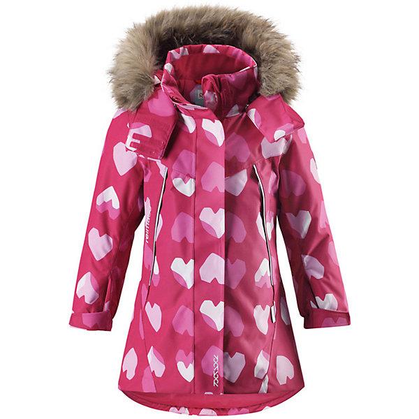 Куртка MuhviВерхняя одежда<br>Характеристики товара:<br><br>• цвет: розовый;<br>• состав: 100% полиэстер;<br>• подкладка: 100% полиэстер;<br>• утеплитель: 160 г/м2<br>• температурный режим: от 0 до -20С;<br>• сезон: зима; <br>• водонепроницаемость: 15000 мм;<br>• воздухопроницаемость: 7000 мм;<br>• износостойкость: 30000 циклов (тест Мартиндейла);<br>• водо- и ветронепроницаемый, дышащий и грязеотталкивающий материал;<br>• все швы проклеены и водонепроницаемы;<br>• гладкая подкладка из полиэстера;<br>• эластичные манжеты;<br>• застежка: молния с защитой подбородка;<br>• безопасный съемный и регулируемый капюшон на кнопках;<br>• съемный искусственный мех на капюшоне;<br>• регулируемые манжеты и подол;<br>• два кармана на кнопках;<br>• внутренний нагрудный карман;<br>• карман с креплением для сенсора ReimaGO®;<br>• светоотражающие детали;<br>• страна бренда: Финляндия;<br>• страна изготовитель: Китай.<br><br>Теплая, водо и ветронепроницаемая детская зимняя куртка Reimatec®. Материал отталкивает грязь и хорошо дышит, так что ваш ребенок не вспотеет. Все швы проклеены, водонепроницаемы. Эта объемная модель отлично сидит благодаря сборке сзади на талии, а также регулируемым манжетам и подолу. Эта куртка с подкладкой из гладкого полиэстера легко надевается. С помощью удобной системы кнопок Play Layers® к куртке можно присоединять разнообразную одежду промежуточного слоя Reima®.<br><br>В куртке предусмотрен съемный капюшон, отороченный съемной отделкой из искусственного меха, и множество светоотражающих деталей. В карманах на молнии можно хранить все самое важное, например, смартфон можно положить в нагрудный карман или в два передних кармана на молнии. А для сенсора ReimaGO имеется специальный карман с кнопками. Эта куртка очень проста в уходе, ведь ее можно сушить в стиральной машине.<br><br>Куртку Muhvi для девочки Reimatec® Reima от финского бренда Reima (Рейма) можно купить в нашем интернет-магазине<br>Ширина мм: 356; Глубина мм: 10; Высота мм: 245; Вес г: 519; Цвет: 