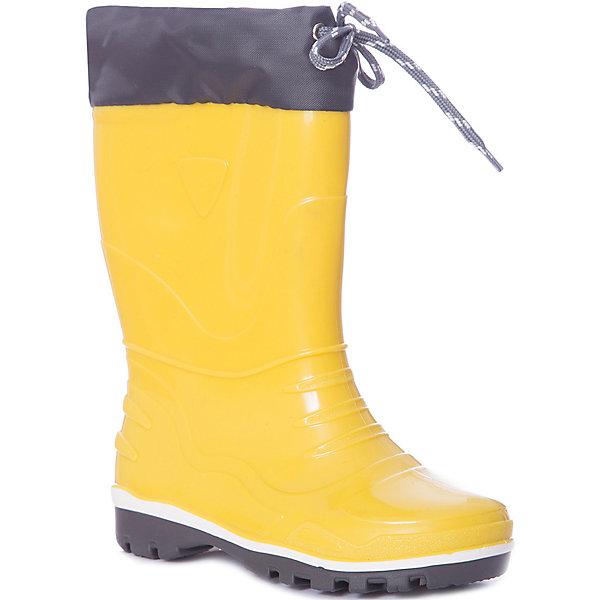 Резиновые сапоги NordmanРезиновые сапоги<br>Характеристики товара:<br><br>• цвет: желтый;<br>• модель: Step;<br>• материал: ПВХ;<br>• материал манжеты: ткань Oxford;<br>• сезон: демисезон;<br>• толстая устойчивая подошва;<br>• температурный режим: от +10° до +20° С;<br>• без утеплителя;<br>• страна бренда: Россия.<br><br>Резиновые сапоги Nordman позволяют сохранить ноги в тепле и одновременно не дают им промокнуть. Такая обувь отлично подходит и для теплого лета и для слякоти в межсезонье.<br><br>Резиновые сапоги Nordman без утеплителя выполнены из непромокаемого материала ПВХ, который защищает от дождя и слякоти. Водозащитные манжеты из ткани Окфорд защищают ногу от попадания влаги. Высокое голенище предотвращает попадание влаги или грязи в сапог. Толстая устойчивая подошва позволяет ребенку увереннее держать равновесие.<br><br>Резиновые сапоги Nordman (Нордман) можно купить в нашем интернет-магазине.<br>Ширина мм: 237; Глубина мм: 180; Высота мм: 152; Вес г: 438; Цвет: желтый; Возраст от месяцев: 15; Возраст до месяцев: 18; Пол: Унисекс; Возраст: Детский; Размер: 22,35,34,33,32,31,30,29,28,27,26,25,24,23; SKU: 7625184;