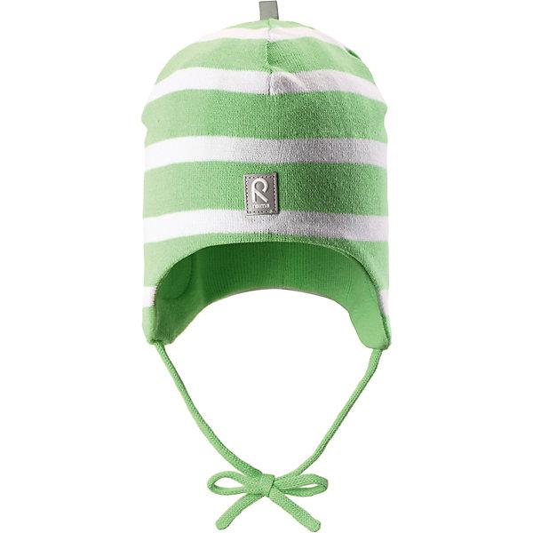 Шапка ReimaШапки и шарфы<br>Шапка Reima <br>Эта шапка для малышей надежно согреет голову ребенка в ветреную весеннюю погоду. Она сшита из эластичного хлопкового трикотажа и снабжена ветронепроницаемыми вставками в области ушей. Свежие цвета! Шапка сертифицирована по стандарту Oeko-tex.<br>Состав:<br>100% Хлопок<br>Ширина мм: 89; Глубина мм: 117; Высота мм: 44; Вес г: 155; Цвет: зеленый; Возраст от месяцев: 9; Возраст до месяцев: 12; Пол: Унисекс; Возраст: Детский; Размер: 44,52,48; SKU: 7628844;