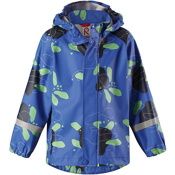 Куртка-дождевик Vesi ReimaОдежда<br>Характеристики товара:<br><br>• цвет: синий принт;<br>• состав: 100% полиамид, полиуретановое покрытие;<br>• без подкладки;<br>• без дополнительного утепления;<br>• сезон: демисезон;<br>• температурный режим: от -10 до +15С;<br>• застёжка: молния с защитой подбородка;<br>• запаянные швы, не пропускающие влагу;<br>• эластичный материал;<br>• не содержит ПВХ;<br>• безопасный, съёмный капюшон;<br>• эластичные манжеты на рукавах;<br>• светоотражающие элементы;<br>• страна бренда: Финляндия.<br><br>Детская куртка-дождевик изготовлена из удобного, эластичного материала, не содержащего ПВХ. Швы запаяны и абсолютно водонепроницаемы. Куртка-дождевик не деревенеет на морозе, поэтому ее можно носить круглый год – просто добавьте в холодную погоду теплый промежуточный слой. Съемный капюшон защитит даже от ливня, при этом он безопасен во время прогулок в дождливый день. Молния спереди во всю длину и множество светоотражающих деталей. <br><br>Куртку Reima от финского бренда Reima (Рейма) можно купить в нашем интернет-магазине.<br>Ширина мм: 356; Глубина мм: 10; Высота мм: 245; Вес г: 519; Цвет: синий; Возраст от месяцев: 12; Возраст до месяцев: 18; Пол: Унисекс; Возраст: Детский; Размер: 86,140,134,128,122,116,110,104,98,92; SKU: 7632321;
