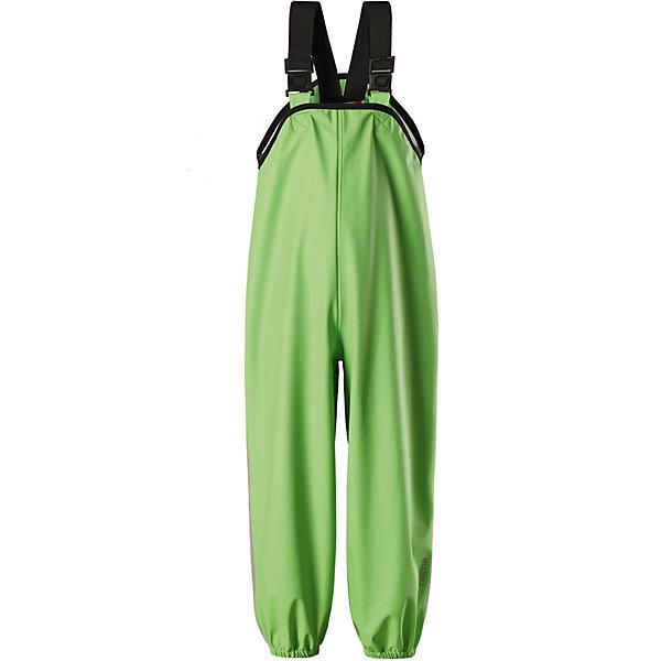 Непромокаемые брюки Lammikko ReimaОдежда<br>Характеристики товара:<br><br>• цвет: зелёный;<br>• состав: 100% полиамид, полиуретановое покрытие;<br>• без подкладки;<br>• без дополнительного утепления;<br>• сезон: демисезон;<br>• водонепроницаемость: 10000 мм;<br>• застёжка: без застёжки;<br>• запаянные швы, не пропускающие влагу;<br>• эластичный материал;<br>• без ПВХ;<br>• регулируемый обхват талии;<br>• эластичные манжеты на брючинах;<br>• съёмные эластичные штрипки;<br>• регулируемые подтяжки;<br>• светоотражающие детали;<br>• страна бренда: Финляндия.<br><br>Дети и лужи – отличное сочетание! Но только если дети хорошо защищены. Эти классические брюки для дождливой погоды гарантируют полную защиту. Материал – мягкий, но водонепроницаемый и грязеотталкивающий. К тому же он не «деревенеет» на морозе, поэтому брюки можно носить круглый год. Швы запаяны и абсолютно водонепроницаемы. Удобные эластичные подтяжки удерживают брюки во время активных игр, а штрипки не дадут брючинам задираться на голенищах резиновых сапог. Без подкладки.<br><br>Брюки Reima от финского бренда Reima (Рейма) можно купить в нашем интернет-магазине.<br>Ширина мм: 215; Глубина мм: 88; Высота мм: 191; Вес г: 336; Цвет: зеленый; Возраст от месяцев: 6; Возраст до месяцев: 9; Пол: Унисекс; Возраст: Детский; Размер: 74,128,122,80,116,110,104,98,92,86; SKU: 7633014;