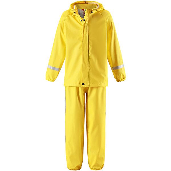 Непромокаемый комплект: куртка и брюки Viima ReimaОдежда<br>Комплект Reima <br>Классический детский комплект для дождливой погоды надежно защищает от дождя и слякоти. Запаянные водонепроницаемые швы гарантируют, что ни одна капелька не просочится вовнутрь. Съемный капюшон защищает от пронизывающего ветра и безопасен во время игр на свежем воздухе даже во время дождя. Кнопки легко отстегиваются, если капюшон случайно за что-нибудь зацепится. Благодаря множеству светоотражающих деталей маленьких любителей приключений будет хорошо видно даже в темное время суток. Этот комплект изготовлен из материала, не содержащего ПВХ и сертифицированного по стандарту Oeko-Tex.<br>Состав:<br>100% Полиэстер, полиуретановое покрытие<br>Ширина мм: 356; Глубина мм: 10; Высота мм: 245; Вес г: 519; Цвет: желтый; Возраст от месяцев: 108; Возраст до месяцев: 120; Пол: Унисекс; Возраст: Детский; Размер: 140,116,122,128,134; SKU: 7633098;