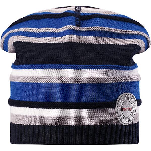 Шапка Niemi ReimaШапки и шарфы<br>Характеристики товара:<br><br>• цвет: синий;<br>• состав: 100% хлопок;<br>• без подкладки;<br>• без дополнительного утепления;<br>• сезон: демисезон;<br>• температурный режим: от +5 до +15С;<br>• застёжка: шапка на завязках;<br>• хлопчатобумажная ткань;<br>• товар сертифицирован Oeko-Tex;<br>• завязки в размерах 44/46 и 48/50;<br>• лёгкий стиль, без подкладки;<br>• узор из цветных полос;<br>• светоотражающие элементы;<br>• страна бренда: Финляндия.<br><br>Легкая трикотажная шапка из хлопка без подкладки – идеальный вариант на летний вечер в ветреную погоду. Завязки имеются только в размерах 44/46 и 48/50. <br><br>Шапку Reima от финского бренда Reima (Рейма) можно купить в нашем интернет-магазине.<br>Ширина мм: 89; Глубина мм: 117; Высота мм: 44; Вес г: 155; Цвет: синий; Возраст от месяцев: 9; Возраст до месяцев: 12; Пол: Унисекс; Возраст: Детский; Размер: 44,56,52,48; SKU: 7633728;