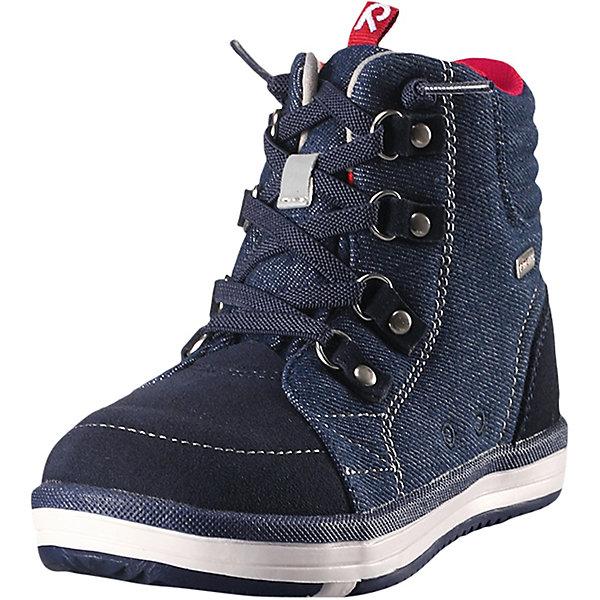Ботинки  ReimaОбувь<br>Ботинки  Reima <br>Супер популярные непромокаемые кроссовки Reimatec® – теперь и в модном городском стиле! Верх сделан из телячьей замши и текстиля. Снабжены водонепроницаемой вставкой с запаянными швами и сетчатой подкладкой. Подошва Reima сделана из термопластичной резины, которая обеспечивает отличное сцепление с поверхностью – и даже снабжена линейкой Happy Fit.<br><br>Благодаря эластичным шнуркам надевать кроссовки быстро и легко! Кроссовки снабжены уникальными съемными стельками Reima с принтом Happy Fit, которые помогают правильно определить размер. Светоотражающие детали довершают стильный образ.<br>Состав:<br>Подошва: Резина Верх: 60% Полиэстер, 20% Кожа, 20% Полиуретан Стелька: 100% Полиэстер Подкладка: 95% Полиэстер, 5% PAN<br>Ширина мм: 250; Глубина мм: 150; Высота мм: 150; Вес г: 250; Цвет: синий; Возраст от месяцев: 72; Возраст до месяцев: 84; Пол: Унисекс; Возраст: Детский; Размер: 30,31,32,33,34,35,36,37,38,24,25,26,27,28,29; SKU: 7634545;