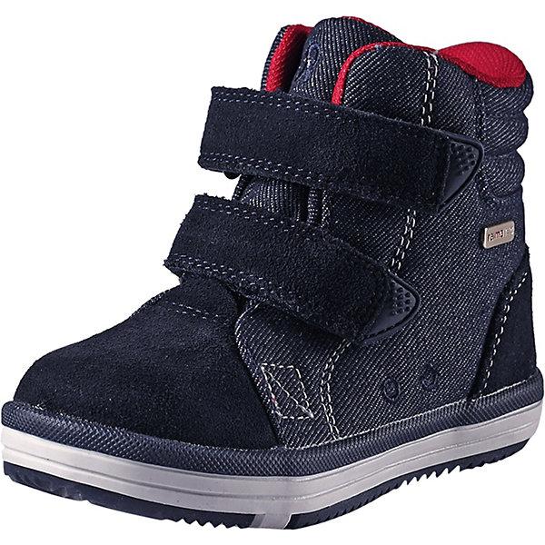 Ботинки  ReimaОбувь<br>Ботинки  Reima <br>Супер популярные непромокаемые кроссовки Reimatec® – теперь и в модном городском стиле! Верх сделан из телячьей замши и текстиля. Снабжены водонепроницаемой вставкой с запаянными швами и сетчатой подкладкой. Подошва Reima сделана из термопластичной резины, которая обеспечивает отличное сцепление с поверхностью – и даже снабжена линейкой Happy Fit.<br><br>Благодаря регулируемым ремешкам на липучке малыши смогут надеть эти ботинки сами – ну, разве что, мама или папа чуть-чуть помогут. Кроссовки снабжены уникальными съемными стельками Reima с принтом Happy Fit, которые помогают правильно определить размер. Светоотражающие детали довершают стильный образ.<br>Состав:<br>Подошва: Резина Верх: 60% Полиэстер, 20% Кожа, 20% Полиуретан Стелька: 100% Полиэстер Подкладка: 95% Полиэстер, 5% PAN<br>Ширина мм: 250; Глубина мм: 150; Высота мм: 150; Вес г: 250; Цвет: синий; Возраст от месяцев: 60; Возраст до месяцев: 72; Пол: Унисекс; Возраст: Детский; Размер: 29,20,30,28,27,26,25,24,23,22,21; SKU: 7634935;