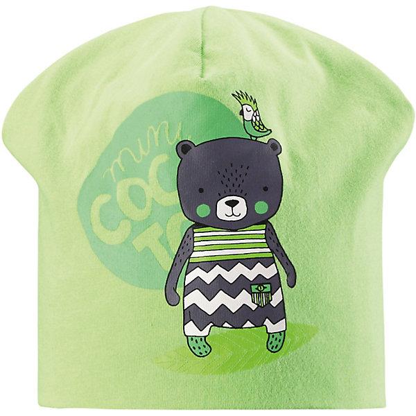 Шапка LassieШапки и шарфы<br>Шапка Lassie <br>Классная шапка для детей в лучших сезонных расцветках! В качестве материала для верха и подкладки использован гладкий и удивительно мягкий на ощупь хлопковый джерси.<br>Состав:<br>95% Хлопок, 5% эластан<br>Ширина мм: 89; Глубина мм: 117; Высота мм: 44; Вес г: 155; Цвет: зеленый; Возраст от месяцев: 72; Возраст до месяцев: 144; Пол: Унисекс; Возраст: Детский; Размер: 52,48,50; SKU: 7635376;