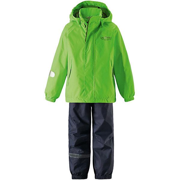Комплект: куртка и брюки Lassietec® LassieОдежда<br>Характеристики товара:<br><br>• цвет: серый;<br>• состав: 100% полиамид, полиуретановое покрытие;<br>• подкладка: 100% полиэстер;<br>• без дополнительного утепления;<br>• сезон: демисезон;<br>• температурный режим: от +5 до +15С;<br>• водонепроницаемость: 8000 мм;<br>• воздухопроницаемость: 7000 мм;<br>• износостойкость: 30000 циклов (тест Мартиндейла);<br>• застёжка: молния с защитным кармашком;<br>• водо- и ветронепроницаемый, «дышащий» и грязеотталкивающий материал;<br>• водо- и грязеотталкивающая пропитка без содержания фторуглеродов BIONIC-FINISH®ECO;<br>• основные швы проклеены и не пропускают влагу;<br>• гладкая подкладка из полиэстера;<br>• высокая талия с регулируемыми подтяжками;<br>• эластичные манжеты на брючинах;<br>• съёмные эластичные штрипки;<br>• светоотражающие детали;<br>• страна бренда: Финляндия.<br><br>Эти водонепроницаемые брюки для малышей для прогулок на воздухе весной и осенью гарантируют надежную защиту от ветра и дождя. Они хорошо комбинируются со всеми демисезонными куртками для младенцев Reima®. Удобные, эластичные подтяжки регулируются, предоставляя пространство на вырост. Эластичные штрипки удобно фиксируют низ брючин при ходьбе, защищая щиколотки во время игр на воздухе.<br><br>Брюки Reima от финского бренда Reima (Рейма) можно купить в нашем интернет-магазине.<br>Ширина мм: 356; Глубина мм: 10; Высота мм: 245; Вес г: 519; Цвет: зеленый; Возраст от месяцев: 18; Возраст до месяцев: 24; Пол: Унисекс; Возраст: Детский; Размер: 92,140,134,128,122,116,110,104,98; SKU: 7635877;