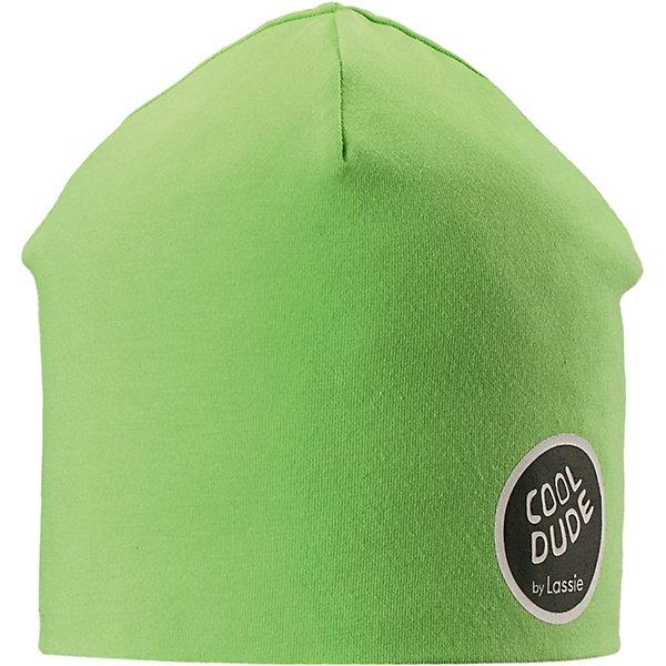 Шапка LassieШапки и шарфы<br>Шапка Lassie <br>Классная шапка для детей в лучших сезонных расцветках! В качестве материала для верха и подкладки использован эластичный, гладкий и удивительно мягкий на ощупь хлопковый джерси.<br>Состав:<br>95% Хлопок, 5% эластан<br>Ширина мм: 89; Глубина мм: 117; Высота мм: 44; Вес г: 155; Цвет: зеленый; Возраст от месяцев: 144; Возраст до месяцев: 168; Пол: Унисекс; Возраст: Детский; Размер: 54,50,52; SKU: 7636129;