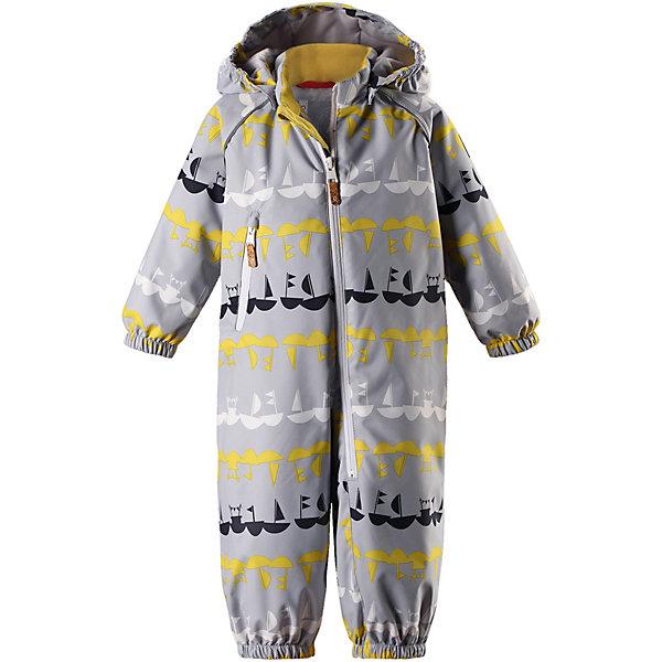 Комбинезон Dropple ReimaВерхняя одежда<br>Характеристики товара:<br><br>• цвет: серый;<br>• состав: 100% полиамид, полиуретановое покрытие;<br>• подкладка: 100% полиэстер;<br>• без дополнительного утепления;<br>• сезон: демисезон;<br>• температурный режим: от +5° до +15°С;<br>• водонепроницаемость: 8000 мм;<br>• воздухопроницаемость: 7000 мм;<br>• износостойкость: 30000 циклов (тест Мартиндейла);<br>• застёжка: молния с защитой подбородка;<br>• основные швы проклеены и не пропускают влагу;<br>• водо- и ветронепроницаемый, «дышащий» и грязеотталкивающий материал;<br>• гладкая подкладка из полиэстера;<br>• безопасный съёмный капюшон;<br>• эластичные манжеты на рукавах и брючинах;<br>• внутренняя регулировка обхвата талии;<br>• карман на молнии;<br>• съёмные эластичные штрипки;<br>• светоотражающие детали;<br>• страна бренда: Финляндия.<br><br>При изготовлении демисезонного комбинезона использован водоотталкивающий материал, а все основные швы проклеены и водонепроницаемы. Этот материал очень функциональный — он ветронепроницаемый и грязеотталкивающий, но при этом отлично пропускает воздух. Гладкая подкладка из полиэстера облегчает надевание и не сковывает движения во время игр на свежем воздухе. <br><br>Съемный капюшон обеспечивает дополнительную безопасность во время прогулок, а съемные эластичные штрипки не дают брючинам задираться. В комбинезоне множество продуманных элементов, например, карман на молнии и светоотражатели. Невероятно удобный комбинезон для активных любителей прогулок в любую погоду.<br><br>Комбинезон Reima от финского бренда Reima (Рейма) можно купить в нашем интернет-магазине.<br>Ширина мм: 356; Глубина мм: 10; Высота мм: 245; Вес г: 519; Цвет: серый; Возраст от месяцев: 6; Возраст до месяцев: 9; Пол: Унисекс; Возраст: Детский; Размер: 74,98,92,86,80; SKU: 7636425;