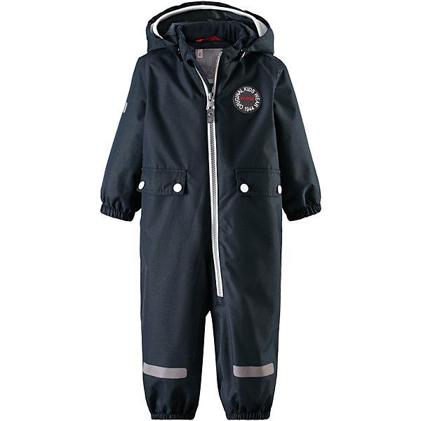 Комбинезон Fangan Reimatec® ReimaВерхняя одежда<br>Характеристики товара:<br><br>• цвет: тёмно-синий;<br>• состав: 100% полиамид, полиуретановое покрытие;<br>• подкладка: 100% полиэстер;<br>• без дополнительного утепления;<br>• сезон: демисезон;<br>• температурный режим: от +5° до +15°С;<br>• водонепроницаемость: 8000 мм;<br>• воздухопроницаемость: 7000 мм;<br>• износостойкость: 30000 циклов (тест Мартиндейла);<br>• застёжка: молния с защитой подбородка;<br>• основные швы проклеены и не пропускают влагу;<br>• водо- и ветронепроницаемый, «дышащий» и грязеотталкивающий материал;<br>• водо- и грязеотталкивающая пропитка без содержания фторуглеродов BIONIC-FINISH®ECO<br>• гладкая подкладка из полиэстера;<br>• безопасный съёмный капюшон;<br>• мягкая резинка на кромке капюшона;<br>• эластичные манжеты на рукавах и брючинах;<br>• внутренняя регулировка обхвата талии;<br>• два кармана с кнопками;<br>• прочные эластичные штрипки;<br>• светоотражающие детали;<br>• страна бренда: Финляндия.<br><br>Теперь дожденепроницаемый утеплённый комбинезон появился в ярких модных цветах сезона. На его создание нас вдохновили костюмы от Reima® 70-х годов. На комбинезоне много светоотражающих деталей и большие карманы с клапанами, где можно хранить маленькие сокровища. Комбинезон сделан из ветронепроницаемого, пропускающего воздух материала, который также отталкивает воду и грязь. Самые важные швы проклеены для создания водонепроницаемости. Теперь одежде не страшны ни дождь, ни снег. <br><br>При желании комбинезон прямого покроя можно регулировать по фигуре на талии. Съёмный капюшон не только защищает от холодного ветра, но и безопасен во время игр на свежем воздухе. Если закреплённый кнопками капюшон зацепится за что-нибудь, он легко отстегнётся. Регулируемый капюшон отделан мягкой вязаной резинкой, что вместе со стильными деталями делает образ более интересным. Благодаря силиконовым штрипкам, брючины остаются на месте при ходьбе.<br><br>Комбинезон Reima от финского бренда Reima (Рейма) мо