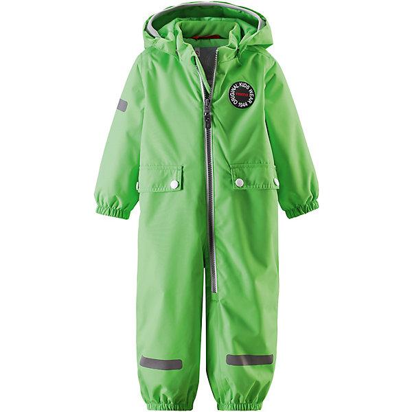 Комбинезон Fangan ReimaВерхняя одежда<br>Характеристики товара:<br><br>• цвет: зелёный;<br>• состав: 100% полиамид, полиуретановое покрытие;<br>• подкладка: 100% полиэстер;<br>• без дополнительного утепления;<br>• сезон: демисезон;<br>• температурный режим: от +5° до +15°С;<br>• водонепроницаемость: 8000 мм;<br>• воздухопроницаемость: 7000 мм;<br>• износостойкость: 30000 циклов (тест Мартиндейла);<br>• застёжка: молния с защитой подбородка;<br>• основные швы проклеены и не пропускают влагу;<br>• водо- и ветронепроницаемый, «дышащий» и грязеотталкивающий материал;<br>• водо- и грязеотталкивающая пропитка без содержания фторуглеродов BIONIC-FINISH®ECO<br>• гладкая подкладка из полиэстера;<br>• безопасный съёмный капюшон;<br>• мягкая резинка на кромке капюшона;<br>• эластичные манжеты на рукавах и брючинах;<br>• внутренняя регулировка обхвата талии;<br>• два кармана с кнопками;<br>• прочные эластичные штрипки;<br>• светоотражающие детали;<br>• страна бренда: Финляндия.<br><br>Теперь дожденепроницаемый утеплённый комбинезон появился в ярких модных цветах сезона. На его создание нас вдохновили костюмы от Reima® 70-х годов. На комбинезоне много светоотражающих деталей и большие карманы с клапанами, где можно хранить маленькие сокровища. Комбинезон сделан из ветронепроницаемого, пропускающего воздух материала, который также отталкивает воду и грязь. Самые важные швы проклеены для создания водонепроницаемости. Теперь одежде не страшны ни дождь, ни снег. <br><br>При желании комбинезон прямого покроя можно регулировать по фигуре на талии. Съёмный капюшон не только защищает от холодного ветра, но и безопасен во время игр на свежем воздухе. Если закреплённый кнопками капюшон зацепится за что-нибудь, он легко отстегнётся. Регулируемый капюшон отделан мягкой вязаной резинкой, что вместе со стильными деталями делает образ более интересным. Благодаря силиконовым штрипкам, брючины остаются на месте при ходьбе.<br><br>Комбинезон Reima от финского бренда Reima (Рейма) можно купить в н
