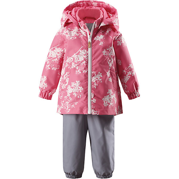 Комплект: куртка и брюки Nuotti Reima для девочкиВерхняя одежда<br>Характеристики товара:<br><br>• цвет: розовый/серый;<br>• состав: 100% полиамид, полиуретановое покрытие;<br>• подкладка: 100% полиэстер;<br>• без дополнительного утепления;<br>• сезон: демисезон;<br>• температурный режим: от +5 до +15С;<br>• застёжка: молния с защитой подбородка;<br>• водо- и ветронепроницаемый, «дышащий» и грязеотталкивающий материал;<br>• водо- и грязеотталкивающая пропитка без содержания фторуглеродов BIONIC-FINISH®ECO;<br>• основные швы проклеены и не пропускают влагу;<br>• гладкая подкладка из полиэстера;<br>• безопасный, съёмный капюшон;<br>• эластичный манжеты на рукавах;<br>• высокая талия с регулируемыми подтяжками;<br>• эластичные манжеты на брючинах;<br>• съёмные эластичные штрипки;<br>• ширинка на молнии;<br>• два боковых кармана;<br>• светоотражающие детали;<br>• страна бренда: Финляндия.<br><br>Для изготовления этого популярного детского демисезонного комплекта использован водоотталкивающий материал, а все основные швы герметично запаяны. Этот материал очень функциональный — он ветронепроницаемый и грязеотталкивающий, но при этом отлично пропускает воздух. <br><br>Гладкая подкладка из полиэстера облегчает одевание и не сковывает движения во время игр на свежем воздухе. Съемный капюшон обеспечивает дополнительную безопасность во время прогулок, а съемные эластичные штрипки не дают концам брючин задираться. В комбинезоне множество продуманных элементов, например карман на молнии и светоотражатели.<br><br>Комплект Reima от финского бренда Reima (Рейма) можно купить в нашем интернет-магазине.<br>Ширина мм: 356; Глубина мм: 10; Высота мм: 245; Вес г: 519; Цвет: розовый; Возраст от месяцев: 12; Возраст до месяцев: 15; Пол: Женский; Возраст: Детский; Размер: 80,98,92,86; SKU: 7636485;
