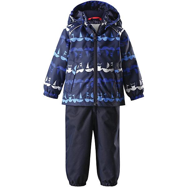 Комплект: куртка и брюки Naakeli ReimaВерхняя одежда<br>Комплект  Reima <br>Для изготовления этого популярного детского демисезонного комплекта использован водоотталкивающий материал, а все основные швы герметично запаяны. Этот материал очень функциональный — он ветронепроницаемый и грязеотталкивающий, но при этом отлично пропускает воздух. Гладкая подкладка из полиэстера облегчает одевание и не сковывает движения во время игр на свежем воздухе. Съемный капюшон обеспечивает дополнительную безопасность во время прогулок, а съемные эластичные штрипки не дают концам брючин задираться. В комбинезоне множество продуманных элементов, например карман на молнии и светоотражатели. <br>Состав:<br>100% Полиэстер, полиуретановое покрытие<br>Ширина мм: 356; Глубина мм: 10; Высота мм: 245; Вес г: 519; Цвет: синий; Возраст от месяцев: 24; Возраст до месяцев: 36; Пол: Унисекс; Возраст: Детский; Размер: 98,80,86,92; SKU: 7636490;