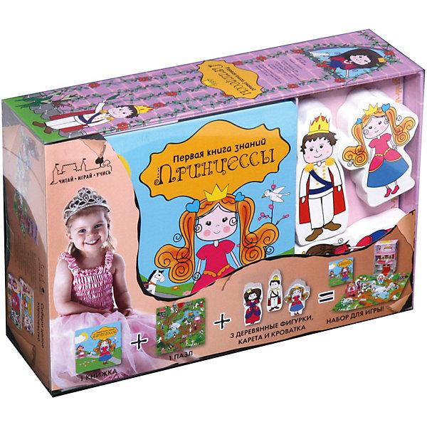 Первая книга знаний Принцессы  + набор игрыОкружающий мир<br>Характеристики:<br><br>• ISBN: 978-5-389-12837-8;<br>• возраст: от 1 года;<br>• формат: 145х145; <br>• тип обложки: твердый переплет;<br>• серия: Первая книга знаний;<br>• издательство: Machaon;<br>• комплектация: книга, деревянные и картонный фигурки, коробка, пазл 16 элементов;<br>• количество страниц: 64;<br>• размеры: 24х17х7 см;<br>• масса: 745 г.<br><br>Первая книга знаний Принцессы + набор игры - это увлекательная игра, которая не оставит равнодушным ни одного ребенка. Нобор предлогает безконечное количество возможностей для проведения досуга и поможет развить память, моторику и воображение. Книжка расскажет все о замках и сказочных принцессах, фигурки позволят играть в ролевую игру, коробка превращается в волшебный замок. <br><br>Все элементы набора выполнены из высококачественных материалов и их можно использовать как по отдельности, так и совместно, создавая свою собственную сказку.<br><br>Первая книга знаний Принцессы + набор игры можно приобрести в нашем интернет-магазине.<br>Ширина мм: 159; Глубина мм: 235; Высота мм: 65; Вес г: 813; Возраст от месяцев: 12; Возраст до месяцев: 36; Пол: Женский; Возраст: Детский; SKU: 7675768;