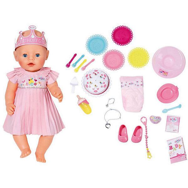 Интерактивная кукла Zapf Creation Baby Born, нарядная с тортом, 43 смКуклы<br>Характеристики:<br><br>• интерактивная кукла с функциональными особенностями;<br>• кукла плачет, пьет и писает;<br>• в комплекте 25 аксессуаров;<br>• разнообразие сюжетов и линий;<br>• возможность заботиться и проявлять нежность;<br>• материал: пластик, текстиль, винил;<br>• высота куклы: 43 см;<br>• размер упаковки: 43х38х21 см;<br>• вес: 1620 кг. <br><br>Очаровательная куколка Baby Born празднует свой первый день рождения! Уже накрыт стол, подали праздничный торт и угощения. Виновница торжества облачилась в нежный наряд розового цвета, на голове сверкает корона «Birthday Girl». Если малышка устанет от гостей, она начнет капризничать и по-настоящему плакать. По щечкам побегут настоящие слезки. <br><br>После еды куколка захочет в туалет: Бэби Борн можно усадить на горшок или надеть малышке подгузник. На животе есть специальная кнопка, которая и поможет куколке сходит в туалет. Кукла Zapf Creation пьет из бутылочки, которую можно наполнить чистой водой. В комплект входят разнообразные аксессуары для яркой и насыщенной игры. <br><br>•  бутылочка;<br>•  соска с креплением;<br>•  тарелочка и ложечка для кормления;<br>•  подгузник;<br>•  горшок;<br>•  смесь для питания;<br>•  торт;<br>•  набор из тарелок и вилок для гостей;<br>•  2 браслета для девочки и куклы.<br><br>Обратите внимание: батарейки приобретаются отдельно. <br><br>Интерактивная кукла Zapf Creation «Baby Born», нарядная с тортом, 43 см можно купить в нашем интернет-магазине.<br>Ширина мм: 380; Глубина мм: 430; Высота мм: 195; Вес г: 1875; Возраст от месяцев: 36; Возраст до месяцев: 2147483647; Пол: Женский; Возраст: Детский; SKU: 7682995;