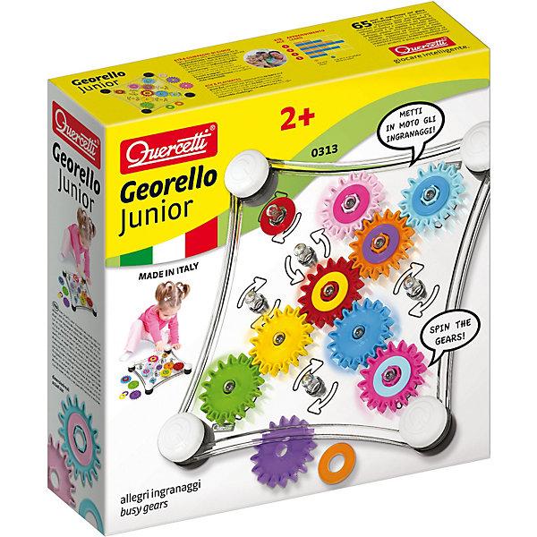 Конструктор Quercetti, Джиорелло ДжуниорПластмассовые конструкторы<br>Характеристики товара:<br><br>• возраст: от 1 года;<br>• в комплекте: игровая доска, шестеренки, альбом;<br>• материал: пластик;<br>• размер упаковки: 30х30х8 см;<br>• вес упаковки: 400 гр.;<br>• страна бренда: Италия.<br><br>Конструктор Quercetti, Джиорелло Джуниор превратит обучение в увлекательную игру. Поможет развить мелкую моторику, логику и зрительное восприятие.<br>Ребенок должен перемещать шестеренки, следуя картинкам на фоне или детальной иллюстрированной инструкции. С конструктором можно играть, положив игровую доску на пол или держа ее вертикально, это абсолютно безопасно. Шестеренки имеют две стороны: одну одноцветную, и другую, в которую можно поставить цветной вкладыш.<br><br>Конструктор Quercetti, Джиорелло Джуниор можно купить в нашем интернет-магазине.<br>Ширина мм: 300; Глубина мм: 300; Высота мм: 80; Вес г: 873; Возраст от месяцев: 24; Возраст до месяцев: 48; Пол: Унисекс; Возраст: Детский; SKU: 7683692;