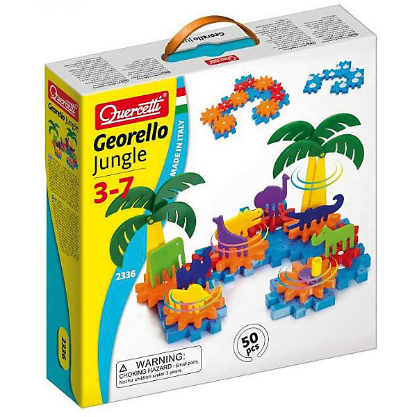 Конструктор Quercetti, Джунгли Джиорелло, 50Пластмассовые конструкторы<br>Характеристики товара:<br><br>• возраст: от 3 лет;<br>• в комплекте: 50 деталей, фигурки животных, шестеренки, элементы пальм, ручки для вращения шестеренок;<br>• материал: пластик;<br>• размер упаковки: 29х29х7 см;<br>• вес упаковки: 840 гр.;<br>• страна бренда: Италия.<br><br>Конструктор Quercetti, Джунгли Джиорелло – это отличный способ увлекательно провести досуг, снять стресс и развить моторику. Ребенку нужно в правильном порядке закреплять детали на платформе.<br> <br>Во время создания своих картинок или воссоздания нарисованных на коробке примеров, у ребенка развивается творческое мышление и фантазия, а также воображение.   <br><br>Все детали конструктора изготовлены из мягкой пластмассы высокого качества и у деталей отсутствуют острые углы, что гарантирует безопасность для вашего малыша. <br><br>Конструктор Quercetti, Джунгли Джиорелло можно купить в нашем интернет-магазине.<br>Ширина мм: 290; Глубина мм: 290; Высота мм: 70; Вес г: 847; Возраст от месяцев: 48; Возраст до месяцев: 6; Пол: Унисекс; Возраст: Детский; SKU: 7683714;