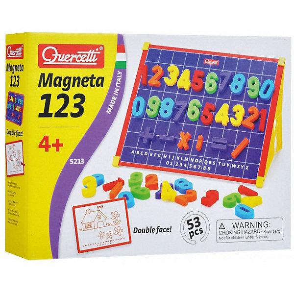 Магнитная доска Quercetti, с цифрами, 53 деталиПособия для обучения счёту<br>Характеристики товара:<br><br>• возраст: от 2 лет;<br>• в комплекте: 48 магнитных цифр и знаков, подставка для доски, доска, коробочки для хранения; <br>• материал: пластик, металл, мягкий магнит;<br>• размер упаковки: 37х27х5 см;<br>• вес упаковки: 1152 гр.;<br>• страна бренда: Италия.<br><br>Магнитная доска Quercetti, с цифрами – прекрасный помощник для вашего малыша в изучении простых арифметических действий.<br><br>Знакомство с цифрами и числами легко превратится в занимательную игру. Во время занятий у ребенка будет возможность не только видеть цифру, но и пощупать ее, познакомиться с ней на уровне тактильных ощущений, что особенно важно для детей с преобладанием сенсорного канала восприятия информации. <br><br>Магнитная доска Quercetti, с цифрами можно купить в нашем интернет-магазине.<br>Ширина мм: 320; Глубина мм: 240; Высота мм: 60; Вес г: 733; Возраст от месяцев: 48; Возраст до месяцев: 6; Пол: Унисекс; Возраст: Детский; SKU: 7683732;