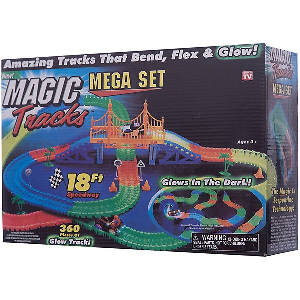 Гибкий трек Ontel Magic Tracks, 360 деталейГибкие треки<br>Характеристики товара: <br><br>• возраст: от 3 лет; <br>• материал: пластик; <br>• в комплекте: 2 светящиеся машинки,                                                             <br>360 элементов светящейся гоночной трассы, <br>подвесной мост, наки, деревья и прочие элементы дорожной инфраструктуры, набор наклеек;<br>• тип батареек: 1 батарейка АА;<br>• наличие батареек: в комплект не входят; <br>• размер упаковки: 38х25х10 см; <br>• страна производитель: Китай.<br><br>Magic Tracks 360 деталей - гоночная трасса, гибкая и яркая, покорившая миллионы детских сердец. Благодаря тому, что все детали сборные, вы можете изменять гоночную трассу как захотите.<br><br>Играть можно всей семьей. Легко собирается. После игры, можно просто свернуть трассу, не обязательно разбирать полностью. Набор Magic Tracks сделан из полностью безопасных материалов. Все детали набора сделаны из высококлассного прочного пластика, который увеличивает их срок службы.<br><br>Игра Magic Tracks развивает мелкую моторику рук и пространственное мышление ребенка. Яркие и приятные на ощупь детали, помогают развивать интерес ко всему новому. <br><br>Гибкий трек, 360 деталей. Magic Tracks можно купить в нашем интернет-магазине.<br>Ширина мм: 380; Глубина мм: 250; Высота мм: 100; Вес г: 1600; Возраст от месяцев: 36; Возраст до месяцев: 2147483647; Пол: Унисекс; Возраст: Детский; SKU: 7683940;