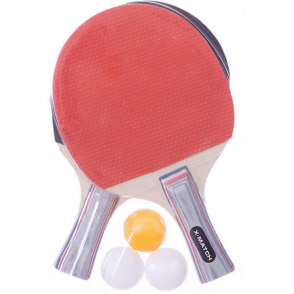 Набор  X-Match для настольного теннисаБадминтон и теннис<br>Характеристики:<br><br>• тип игрушки: игровой набор;<br>• возраст: от 3 лет;<br>• комплектация: 2 ракетки, 3 шарика;<br>• материал: дерево, резина, пластик;<br>• размер: 19х4х28 см;<br>• бренд: X-Match.<br><br>Набор X-Match для настольного тенниса позволит детям скрасить свой досуг и провести его с пользой. Юным любителям спортивных игр и состязаний придется по душе физическая активность такого рода. В наборе имеется пара ракеток и 3 шарика. Рукоятки ракеток выполнены из дерева, а потому они всегда будут надежно лежать в ладони.<br><br>Набор X-Match для настольного тенниса можно купить в нашем интернет-магазине.<br>Ширина мм: 175; Глубина мм: 25; Высота мм: 290; Вес г: 23; Возраст от месяцев: 36; Возраст до месяцев: 2147483647; Пол: Унисекс; Возраст: Детский; SKU: 7684092;