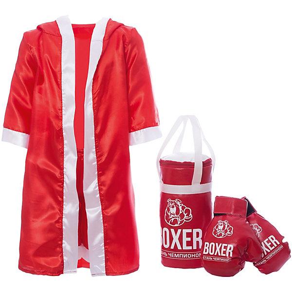 Игровой набор для бокса Боксер  №1, в подарочной упаковке, 30 см, в ассортиментеИнвентарь для бокса<br>Характеристики:<br><br>• тип игрушки: игровой набор;<br>• возраст: от 3 лет;<br>• комплектация: боксерская груша, перчатки, накидка, шорты;<br>• размер груши: 30 см;<br>• материал: текстиль, наполнитель;<br>• размер: 29х18х36 см;<br>• вес: 303 гр;<br>• упаковка: картонная коробка;<br>• страна бренда: Россия;<br>• бренд: Лидер.<br><br>Игровой набор для бокса «Боксер №1», 30 см сможет понравиться каждому любителю настоящего мужского спорта. В комплект входят перчатки для защиты рук, боксерская груша для тренировки удара, боксерские шорты и халат для яркого выхода на ринг. <br><br>Отрабатывая удары и тренируя свое тело, каждый мальчишка сможет приобщиться к правильному образу жизни и укрепить свое здоровье.<br>Такой набор сможет помочь познать азы боксерского искусства и направит юного спортсмена на правильный путь, ведущий к чемпионским титулам и большим победам.<br><br>Игровой набор для бокса «Боксер №1», 30 см  можно купить в нашем интернет-магазине.<br>Ширина мм: 290; Глубина мм: 180; Высота мм: 360; Вес г: 303; Возраст от месяцев: 36; Возраст до месяцев: 2147483647; Пол: Мужской; Возраст: Детский; SKU: 7684140;