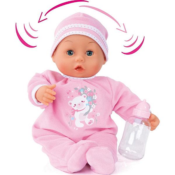 Интерактивная кукла Bayer Моя первая кукла, 38 смКуклы<br>Характеристики товара:<br><br>• возраст: от 3 лет;<br>• материал: тектиль, пластик;<br>• в комплекте: кукла, бутылочка, погремушка, соска;<br>• высота куклы: 38 см;<br>• тип батареек: 3 батарейки ААА;<br>• наличие батареек: в комплекте;<br>• размер упаковки: 38,5х29х12 см;<br>• вес упаковки: 1,15 кг.<br><br>Кукла интерактивная Bayer «Моя первая кукла» - замечательный пупс, одетый в розовый комбинезон и шапочку. Игра с куклой привьет девочке чувство заботы и ответственности. Куколка выполняет целых 26 интерактивных функций.<br><br>Если нажать на кнопочку, то можно услышать разнообразные звуки настоящего младенца. Поднеся бутылочку ко рту, куколка будет издавать звуки, как будто она кушает. Нажав на ее ручку, пупс закивает головой. Когда же малыш засыпает, то он закрывает глазки.<br><br>Куклу интерактивную Bayer «Моя первая кукла» можно приобрести в нашем интернет-магазине.<br>Ширина мм: 385; Глубина мм: 290; Высота мм: 120; Вес г: 980; Цвет: розовый/розовый; Возраст от месяцев: 36; Возраст до месяцев: 168; Пол: Женский; Возраст: Детский; SKU: 7684278;