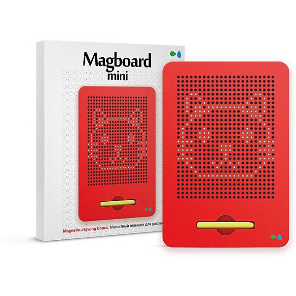 Магнитный планшет для рисования Magboard mini, красныйКоврики и доски для рисования<br>Характеристики:<br><br>• набор для развития творческих способностей;<br>• процесс работы: с помощью пера на магнитной доске создаются линии, контуры, фигуры;<br>• в комплекте доска с ячейками для металлических шариков, намагниченное перо, трафареты, инструкция;<br>• чтобы очистить поверхность, необходимо протолкнуть шарики обратно;<br>• имеется углубление для пера;<br>• магнитный планшет удобно взять с собой в путешествие;<br>• материал: пластик, магнит, металл;<br>• размер планшета: 21х17 см.<br><br>Процесс работы:<br><br>• если поднести к одной ячейке перо, то одна из этих бусинок сразу поднимется наверх и займет место в ячейке, а на планшете будет будто нарисована точка;<br>•  если провести магнитным пером по доске получится линия, контур, фигура, цифра и даже полноценная картинка;<br>• с помощью трафаретов можно усовершенствовать процесс рисования;<br>• чтобы стереть изображение - достаточно просто прикоснуться к нему пальцем, протолкнув шарики обратно.<br><br>Магнитный планшет для рисования Назад к истокам «Magboard mini», красный можно купить в нашем интернет-магазине.<br>Ширина мм: 218; Глубина мм: 175; Высота мм: 15; Вес г: 450; Цвет: красный; Возраст от месяцев: 36; Возраст до месяцев: 2147483647; Пол: Унисекс; Возраст: Детский; SKU: 7684375;