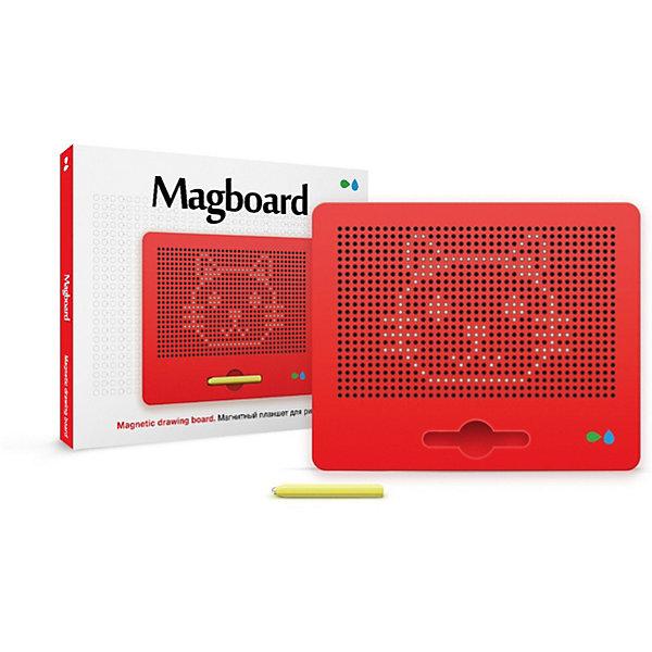 Магнитный планшет для рисования Magboard, красныйПланшеты для рисования<br>Характеристики:<br><br>• набор для развития творческих способностей;<br>• процесс работы: с помощью пера на магнитной доске создаются линии, контуры, фигуры;<br>• в комплекте доска с ячейками для металлических шариков, намагниченное перо, трафареты, инструкция;<br>• чтобы очистить поверхность, необходимо протолкнуть шарики обратно;<br>• имеется углубление для пера;<br>• магнитный планшет удобно взять с собой в путешествие;<br>• материал: пластик, магнит, металл;<br>• размер планшета: 31х25 см.<br><br>Процесс работы:<br><br>• если поднести к одной ячейке перо, то одна из этих бусинок сразу поднимется наверх и займет место в ячейке, а на планшете будет будто нарисована точка;<br>•  если провести магнитным пером по доске получится линия, контур, фигура, цифра и даже полноценная картинка;<br>• с помощью трафаретов можно усовершенствовать процесс рисования;<br>• чтобы стереть изображение - достаточно просто прикоснуться к нему пальцем, протолкнув шарики обратно.<br><br>Магнитный планшет для рисования Назад к истокам «Magboard», красный можно купить в нашем интернет-магазине.<br>Ширина мм: 315; Глубина мм: 255; Высота мм: 15; Вес г: 900; Цвет: красный; Возраст от месяцев: 36; Возраст до месяцев: 2147483647; Пол: Унисекс; Возраст: Детский; SKU: 7684381;
