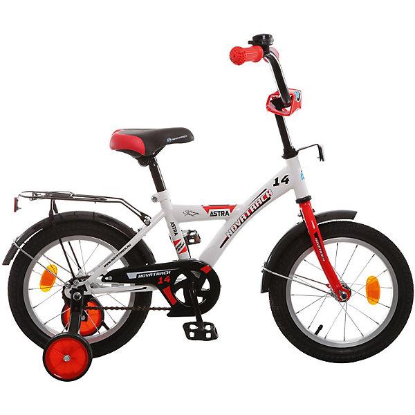 Велосипед Novatrack 14, ASTRA, белыйВелосипеды детские<br>Характеристики товара:<br><br>• возраст: от 3 лет;<br>• материал рамы: сталь;<br>• материал крыльев: сталь;<br>• материал обода: алюминий;<br>• диаметр колес: 14 дюймов;<br>• тип колес: резиновые;<br>• ножной тормоз;<br>• жесткая вилка;<br>• багажник;<br>• вес велосипеда: 8,8 кг;<br>• размер упаковки: 81х41х18,5 см;<br>• вес упаковки: 11 кг;<br>• страна бренда: Россия.<br><br>Велосипед Novatrack Astra 14 белый — легкий и маневренный велосипед, на котором детям от 3 лет будет легко обучаться катанию. Специально для самых юных пользователей на велосипеде предусмотрены 2 маленьких съемных колеса, которые придают ему дополнительной устойчивости. Такая конструкция позволит детям обучаться катанию и сохранять равновесие. <br><br>Велосипед имеет особую геометрию и конструкцию рамы, так чтобы детям было легко садиться на велосипед и слазить с него. Для безопасного катания предусмотрен ножной тормоз и ограничитель руля, который не даст ребенку сделать слишком крутой поворот. На цепи расположена защита, препятствующая попаданию ноги или одежды в механизм.<br><br>Велосипед Novatrack Astra 14 белый можно приобрести в нашем интернет-магазине.<br>Ширина мм: 810; Глубина мм: 185; Высота мм: 410; Вес г: 11000; Цвет: белый; Возраст от месяцев: 48; Возраст до месяцев: 72; Пол: Унисекс; Возраст: Детский; SKU: 7684610;