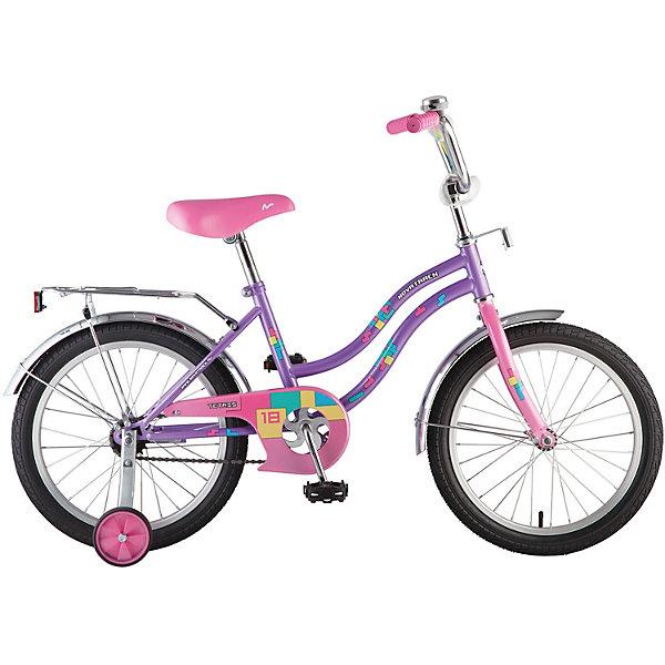 Велосипед Novatrack 14,TETRIS, фиолетовыйВелосипеды и аксессуары<br>Характеристики товара:<br><br>• возраст: от 3 лет;<br>• материал рамы: сталь;<br>• материал крыльев: сталь;<br>• материал обода: алюминий;<br>• диаметр колес: 14 дюймов;<br>• тип колес: резиновые;<br>• ножной тормоз;<br>• жесткая вилка;<br>• багажник;<br>• вес велосипеда: 8,6 кг;<br>• размер упаковки: 81х41х18,5 см;<br>• вес упаковки: 11 кг;<br>• страна бренда: Россия.<br><br>Велосипед Novatrack Tetris 14 фиолетовый подойдет для детей от 3 лет. Для малышей, которые только осваивают катания на велосипеде, предусмотрены 2 маленьких съемных колеса, которые придают ему дополнительной устойчивости. Они же подойдут для передвижений на сложном участке или пересеченной местности. Благодаря им дети будут увереннее чувствовать себя и научатся держать равновесие.<br><br>На ручках руля имеются нескользящие грипсы, обеспечивающие хороший захват и препятствующие соскальзыванию ладоней во время езды. Для безопасного катания предусмотрен ножной тормоз и ограничитель руля, который не даст ребенку сделать слишком крутой поворот и защитит от опрокидывания. На цепи расположена защита, препятствующая попаданию ноги или одежды в механизм. Сзади багажник с зажимом, на котором можно перевозить небольшие вещи и игрушки.<br><br>Велосипед Novatrack Tetris 14 фиолетовый можно приобрести в нашем интернет-магазине.<br>Ширина мм: 810; Глубина мм: 185; Высота мм: 410; Вес г: 11000; Цвет: фиолетовый; Возраст от месяцев: 48; Возраст до месяцев: 72; Пол: Женский; Возраст: Детский; SKU: 7684614;