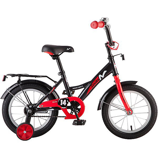 Велосипед Novatrack 14, STRIKE, чёрный-красныйВелосипеды детские<br>Характеристики товара:<br><br>• возраст: от 3 лет;<br>• материал рамы: сталь;<br>• материал крыльев: сталь;<br>• диаметр колес: 14 дюймов;<br>• тип колес: резиновые;<br>• ножной тормоз;<br>• жесткая вилка;<br>• багажник;<br>• звонок на руле;<br>• регулировка высоты сидения и руля;<br>• вес велосипеда: 10 кг;<br>• размер упаковки: 81х41х18,5 см;<br>• вес упаковки: 11 кг;<br>• страна бренда: Россия.<br><br>Велосипед Novatrack Strike 14 черно-красный подойдет для детей от 3 лет. Для малышей, которые только осваивают катания на велосипеде, предусмотрены 2 маленьких съемных колеса, которые придают ему дополнительной устойчивости. Они же подойдут для передвижений на сложном участке или пересеченной местности. Благодаря им дети будут увереннее чувствовать себя и научатся держать равновесие.<br><br>Руль и сидение регулируются по высоте под рост ребенка. На ручках руля имеются нескользящие грипсы, обеспечивающие хороший захват и препятствующие соскальзыванию ладоней во время езды. При помощи звоночка на руле ребенок будет предупреждать прохожих о передвижении.<br><br>Для безопасного катания предусмотрен ножной тормоз и ограничитель руля, который не даст ребенку сделать слишком крутой поворот и защитит от опрокидывания. На цепи расположена защита, препятствующая попаданию ноги или одежды в механизм. Сзади багажник, на котором можно перевозить небольшие вещи и игрушки.<br><br>Велосипед Novatrack Strike 14 черно-красный можно приобрести в нашем интернет-магазине.<br>Ширина мм: 810; Глубина мм: 185; Высота мм: 410; Вес г: 11000; Цвет: черный/розовый; Возраст от месяцев: 48; Возраст до месяцев: 72; Пол: Мужской; Возраст: Детский; SKU: 7684618;
