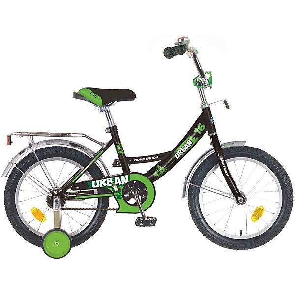 Велосипед Novatrack 16, URBAN, черныйВелосипеды детские<br>Характеристики товара:<br><br>• возраст: от 5 лет;<br>• материал рамы: сталь;<br>• материал крыльев: сталь;<br>• материал обода: алюминий;<br>• диаметр колес: 16 дюймов;<br>• тип колес: резиновые;<br>• ножной тормоз;<br>• жесткая вилка;<br>• багажник;<br>• светоотражатели;<br>• вес велосипеда: 9,8 кг;<br>• размер упаковки: 91х42х19 см;<br>• вес упаковки: 12 кг;<br>• страна бренда: Россия.<br><br>Велосипед Novatrack Urban 16 черный — легкий и маневренный велосипед, на котором детям легко обучаться катанию. 2 съемных маленьких колеса придают ему дополнительной устойчивости. Такая конструкция позволит детям обучаться катанию и сохранять равновесие. На цепи расположена защита, препятствующая попаданию ноги или одежды в механизм. 4 светоотражающих элемента гарантируют видимость при перемещении на темной дороге. Крылья колес защищают ребенка от брызг и загрязнений.<br><br>Велосипед Novatrack Urban 16 черный можно приобрести в нашем интернет-магазине.<br>Ширина мм: 910; Глубина мм: 190; Высота мм: 420; Вес г: 12000; Цвет: черный; Возраст от месяцев: 60; Возраст до месяцев: 84; Пол: Женский; Возраст: Детский; SKU: 7684624;