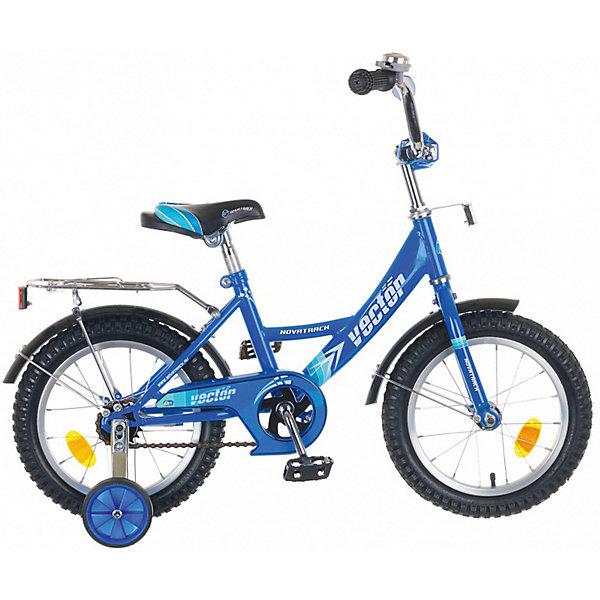 Велосипед Novatrack 14, Vector, синийВелосипеды детские<br>Характеристики товара:<br><br>• возраст: от 3 лет;<br>• материал рамы: сталь;<br>• материал крыльев: сталь;<br>• материал обода: алюминий;<br>• диаметр колес: 14 дюймов;<br>• тип колес: резиновые;<br>• ножной тормоз;<br>• жесткая вилка;<br>• багажник;<br>• звонок на руле;<br>• регулировка высоты сидения и руля;<br>• вес велосипеда: 8,8 кг;<br>• размер упаковки: 81х41х18,5 см;<br>• вес упаковки: 11 кг;<br>• страна бренда: Россия.<br><br>Велосипед Novatrack Vector 14 синий подойдет для детей от 3 лет. Для малышей, которые только осваивают катания на велосипеде, предусмотрены 2 маленьких съемных колеса, которые придают ему дополнительной устойчивости. Они же подойдут для передвижений на сложном участке или пересеченной местности. Благодаря им дети будут увереннее чувствовать себя и научатся держать равновесие.<br><br>Руль и сидение регулируются по высоте под рост ребенка. На ручках руля имеются нескользящие грипсы, обеспечивающие хороший захват и препятствующие соскальзыванию ладоней во время езды. При помощи звоночка на руле ребенок будет предупреждать прохожих о передвижении.<br><br>Для безопасного катания предусмотрен ножной тормоз и ограничитель руля, который не даст ребенку сделать слишком крутой поворот и защитит от опрокидывания. На цепи расположена защита, препятствующая попаданию ноги или одежды в механизм. Сзади багажник, на котором можно перевозить небольшие вещи и игрушки.<br><br>Велосипед Novatrack Vector 14 синий можно приобрести в нашем интернет-магазине.<br>Ширина мм: 810; Глубина мм: 185; Высота мм: 410; Вес г: 11000; Цвет: синий; Возраст от месяцев: 48; Возраст до месяцев: 72; Пол: Унисекс; Возраст: Детский; SKU: 7684628;