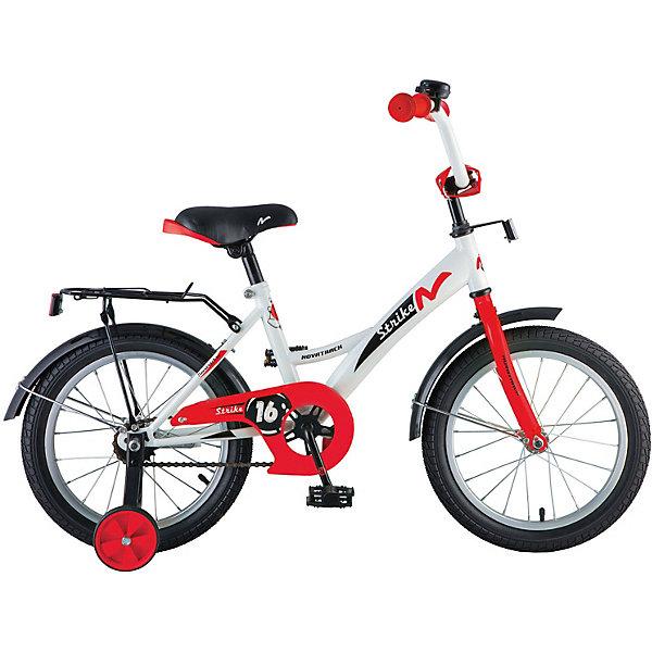 Велосипед Novatrack 14, STRIKE, белый-красныйВелосипеды детские<br>Характеристики товара:<br><br>• возраст: от 3 лет;<br>• материал рамы: сталь;<br>• материал крыльев: сталь;<br>• диаметр колес: 14 дюймов;<br>• тип колес: резиновые;<br>• ножной тормоз;<br>• жесткая вилка;<br>• багажник;<br>• звонок на руле;<br>• регулировка высоты сидения и руля;<br>• вес велосипеда: 10 кг;<br>• размер упаковки: 81х41х18,5 см;<br>• вес упаковки: 11 кг;<br>• страна бренда: Россия.<br><br>Велосипед Novatrack Strike 14 бело-красный подойдет для детей от 3 лет. Для малышей, которые только осваивают катания на велосипеде, предусмотрены 2 маленьких съемных колеса, которые придают ему дополнительной устойчивости. Они же подойдут для передвижений на сложном участке или пересеченной местности. Благодаря им дети будут увереннее чувствовать себя и научатся держать равновесие.<br><br>Руль и сидение регулируются по высоте под рост ребенка. На ручках руля имеются нескользящие грипсы, обеспечивающие хороший захват и препятствующие соскальзыванию ладоней во время езды. При помощи звоночка на руле ребенок будет предупреждать прохожих о передвижении.<br><br>Для безопасного катания предусмотрен ножной тормоз и ограничитель руля, который не даст ребенку сделать слишком крутой поворот и защитит от опрокидывания. На цепи расположена защита, препятствующая попаданию ноги или одежды в механизм. Сзади багажник, на котором можно перевозить небольшие вещи и игрушки.<br><br>Велосипед Novatrack Strike 14 бело-красный можно приобрести в нашем интернет-магазине.<br>Ширина мм: 810; Глубина мм: 185; Высота мм: 410; Вес г: 11000; Цвет: красный/белый; Возраст от месяцев: 48; Возраст до месяцев: 72; Пол: Унисекс; Возраст: Детский; SKU: 7684630;